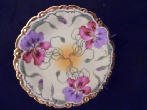 Stouffers red and lavender iris'  Limoges cabinet plate signed E. Feix