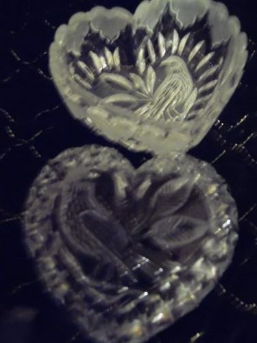 Vintage Hofbauer Byrdes Crystal Heart Shaped Candy/Trinket Dish