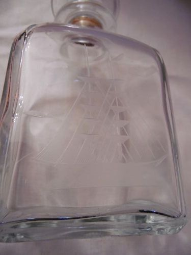 VINTAGE GLASS DECANTER WITH CLIPPER SHIP  MADE IN ITALY