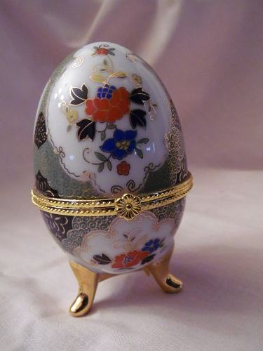 Porcelain footed hinged egg shape trinket box