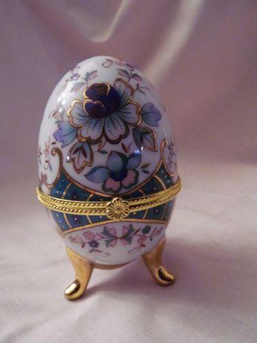 Blue and green floral hinged porcelain egg trinket box