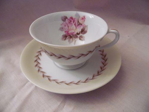 Noritake Nippon Toki Kaisha cup and saucer pink rose pattern N212