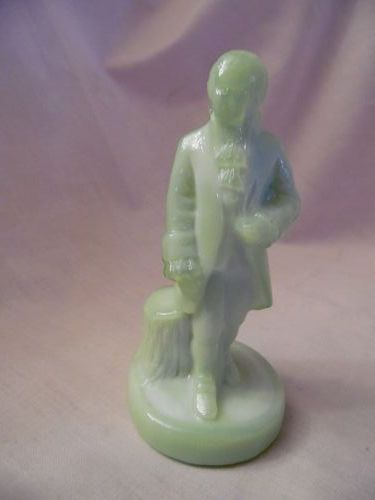 Boyd Art Glass Seafoam Green Slag Colonial Man Figurine
