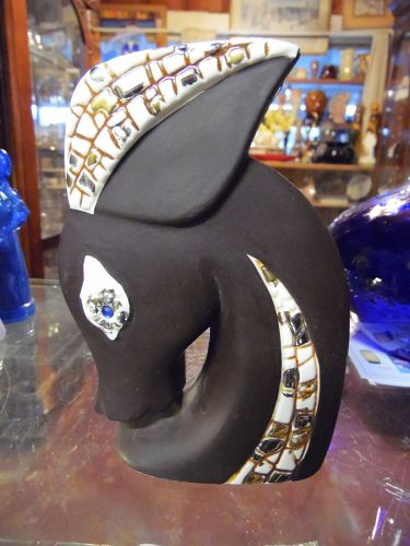 Relco Fifties Modern deer or donkey head vase mosaic trim #8A165