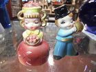 Vintage girl with apples and winking boy with pie salt pepper shakers