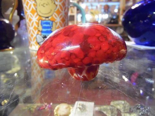 Hand blown Studio art glass mushroom paperweight
