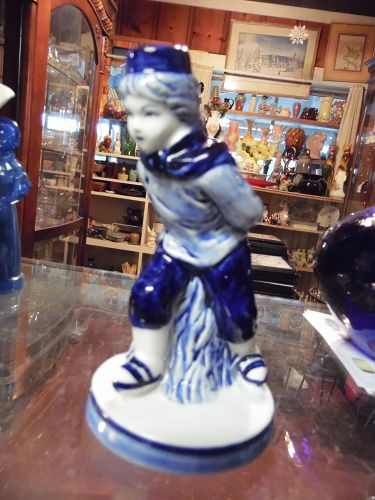 "DALC  Delft Blue skating boy figurine  5 3/4"""