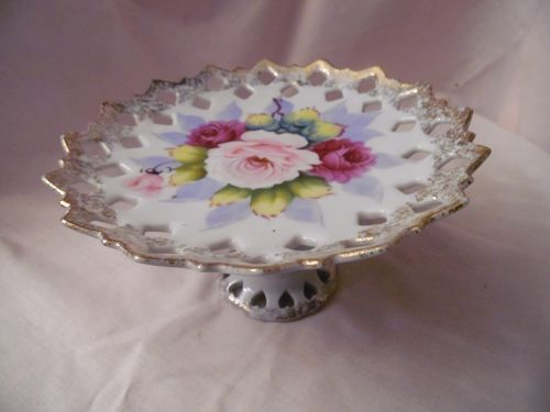 Hand painted ceramic dessert stand with roses reticulated border
