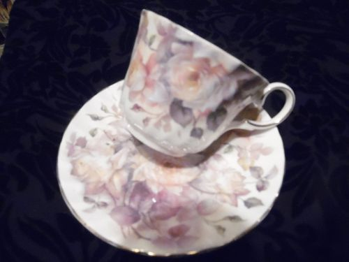 Vintage Royal Patrician cup and saucer set Staffordshire England ROSES