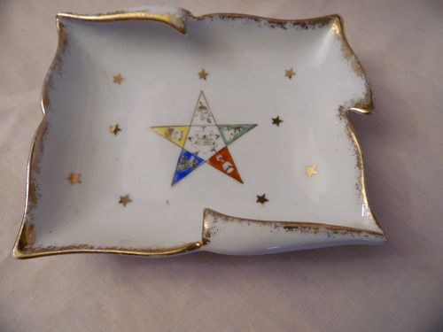 Vintage Eastern Star  hand painted porcelain dish ashtray