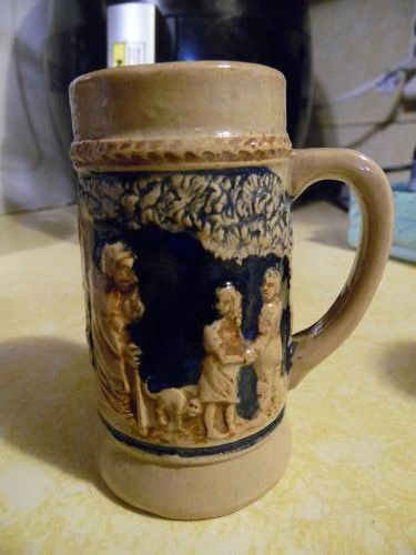Small  3.75 vintage pottery beer stein Marked R