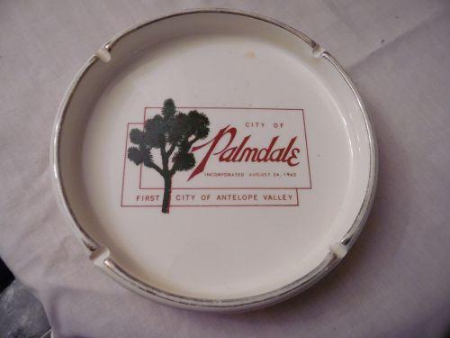 VTG Vintage Ceramic Ashtray 1962 City of Palmdale Ivory Gold
