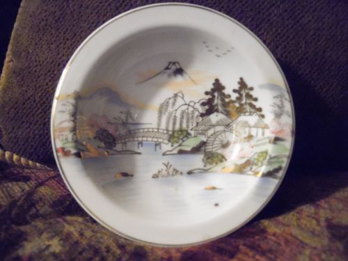 Hand painted Kutani dessert bowl KUT143 Fuji bridge birds trees lake