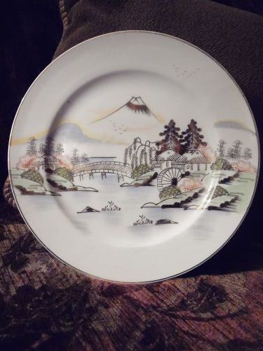 Hand painted Kutani salad plate KUT143 Fuji bridge birds trees lake