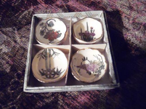 "Vintage box set Asian salt dip or dipping bowls H/P pottery 1.5"" diam"