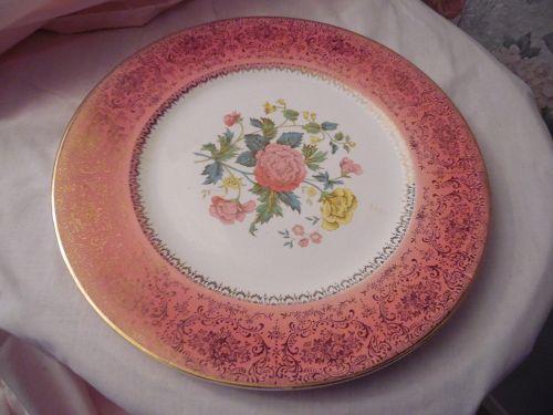 Vintage Imperial Salem China service plate #366 floral center pink rim