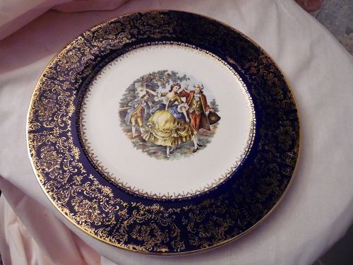 Imperial Salem China service plate, black with Victorian dancers