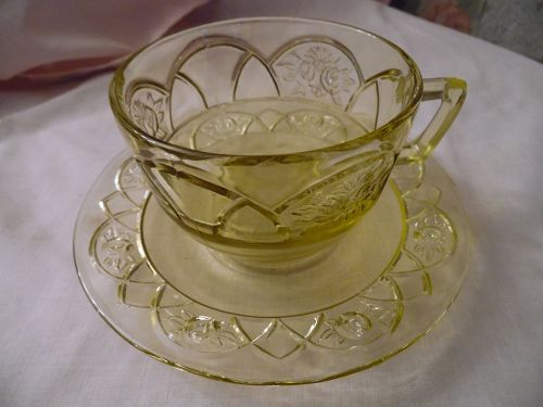 Federal Glass Rosemary, aka Dutch rose amber-yellow cup and saucer