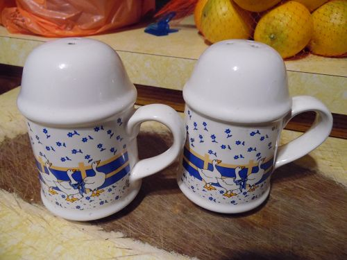 Trenditions white geese range shakers with blue band and flowers