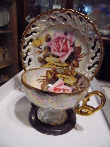 Royal Sealy fancy pink roses lustre teacup and saucer pedestal foot
