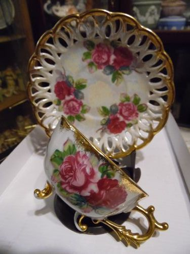 Vintage Japan lustre fancy teacup and saucer with roses toes feet legs