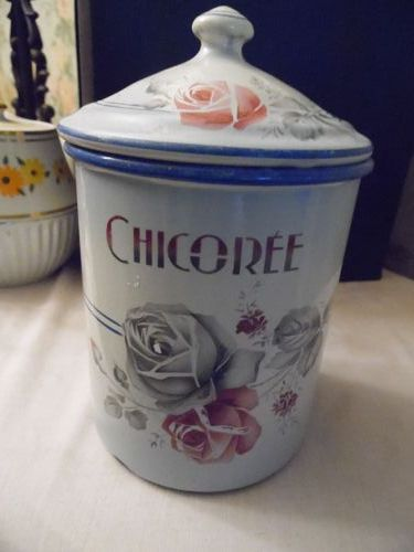 Antique Japy original French enamel chicoree canister floral roses