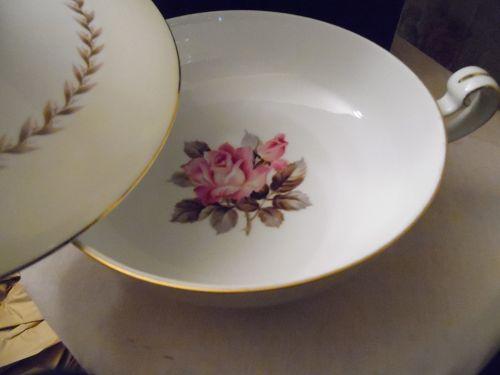 Noritake N212 pink rose, laurel, pale yellow bans covered casserole