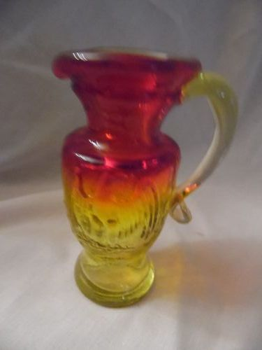Kanawha amberina miniature glass pitcher embossed american eagle 4""