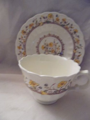 Vernon Kilns Hibiscus cup and saucer California pottery