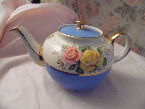 Vintage Sadler Teapot 2215 Sky Blue Turquoise pink yellow roses gold