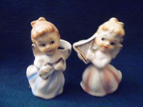 Vintage Japan  Angels with instruments Candle Climbers Lefton maybe