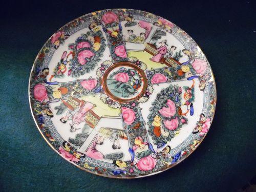 "Vintage Rose Medallion Famille plate Hong Kong 8"""
