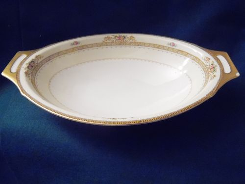 Meito china hand painted oval vegetable bowl Camden pattern Japan