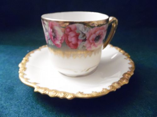 JP Limoges France demi cup and saucer roses heavy gold for Gumps  SF