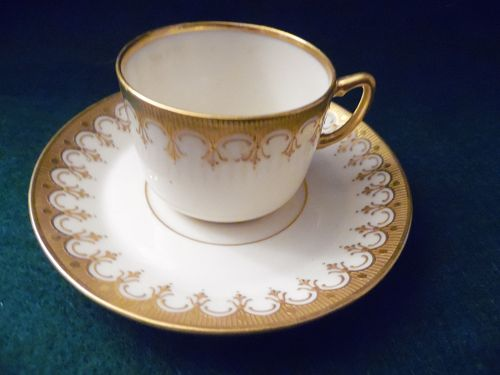 Belleek Willets demitasse cup and saucer brown serpent mark