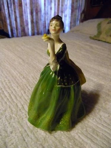 Royal Doulton lady figurine Fleur green dress holding rose HN 2368
