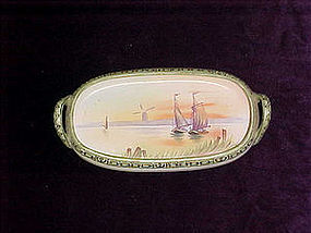Hand painted Nippon pin tray sailboats and sunset
