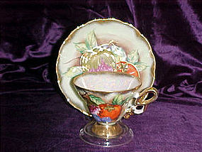 Fruit, fancy teacup & saucer set