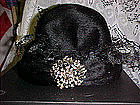 Mint, vintage rhinestone hat with box