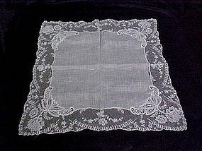Delicate vintage lace edged hankie