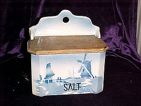 Delft salt box w/ wood lid Czechoslovakia