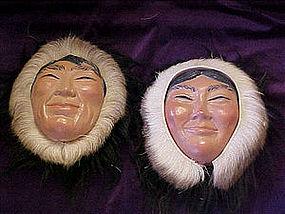Eskimo heads with real caribou fur