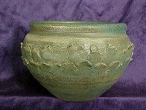 green pottery vase