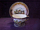 Dickens Days scene, English lustre tea cup and saucer