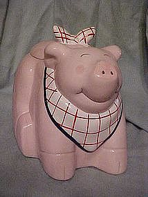 Pig with a bib cookie jar