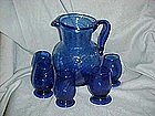 Hand blown cobalt pitcher and glasses