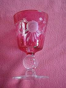 Glastonbury Lotus 553 cranberry cut floral tall goblet
