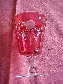 Glastonbury Lotus 553-3 ball stem cranberry wine glass
