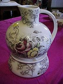 "Nasco Japan ""Rosevine"" Carafe with warmer"