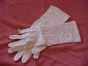 Hand beaded ladies evening gloves